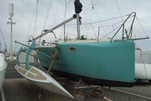 Trimaran de 8m, expertisé à Port Camargue (GARD) le 17 janvier 2007